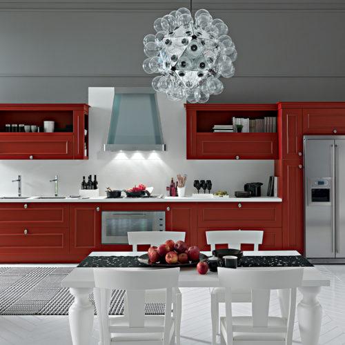 Romantica cucina rosso veneziano Febal Salento