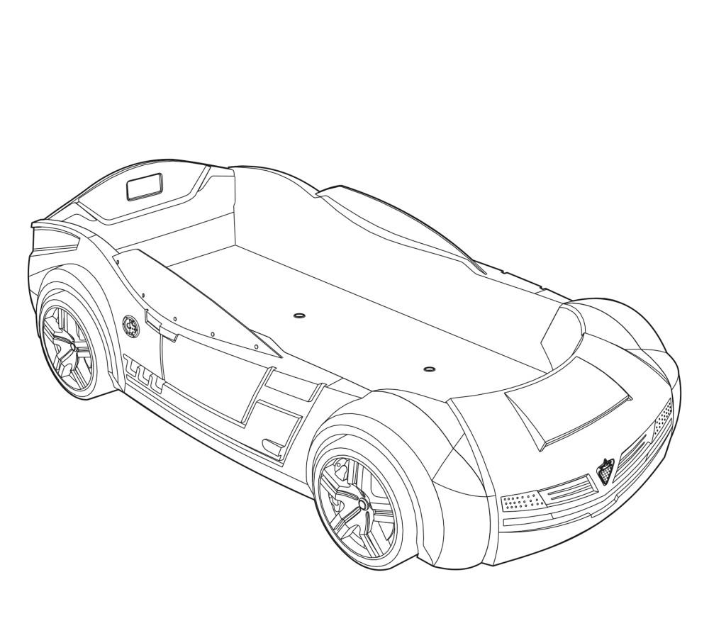 struttura lettino a forma di auto